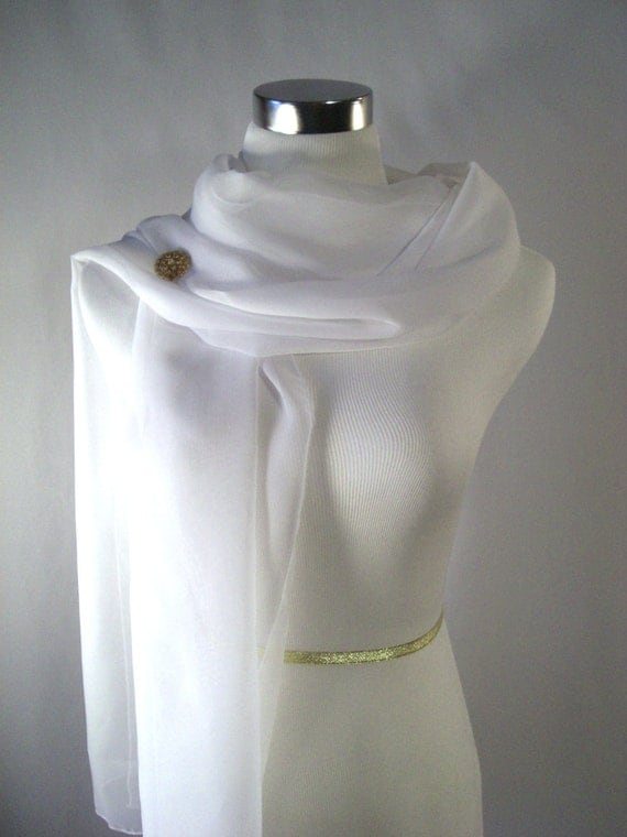 Bridal Scarf - Wedding Scarf -  Bridesmaid Scarf - Evening Wrap - Extra Long Snow White Silky Chiffon