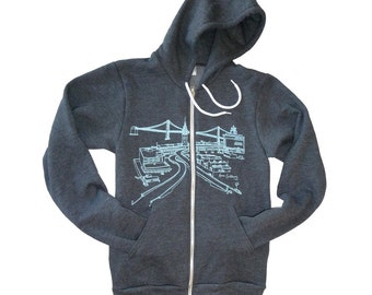 Ferry Building and Bay Bridge Hoodie Sweatshirt