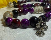 Antique Garnet and silver pendant on burgundy beads