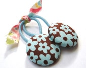 SUMMER SALE Ponytail Holders Aqua and Brown