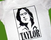 Hand Painted James Taylor Baby Bodysuit or T-Shirt (pick your size) retro - musician - 1970s - folk music