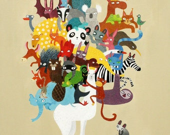 Lama and animals print, animals of the world  A4 print, nursery art