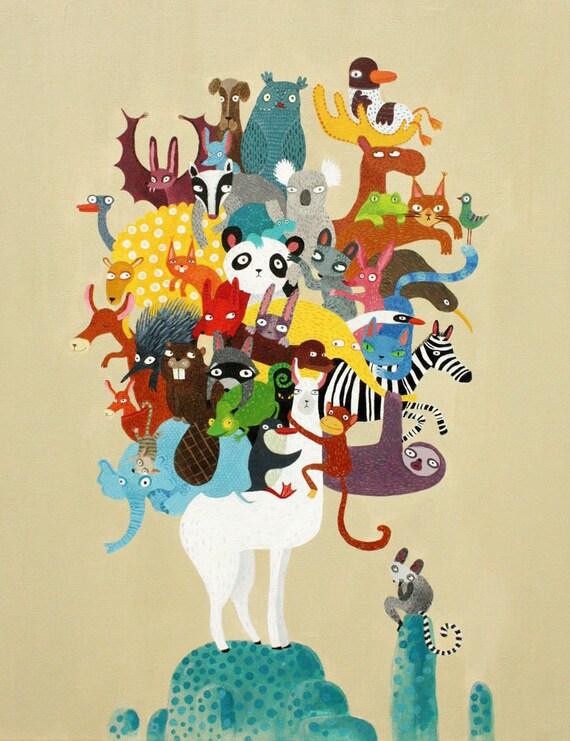 Lama and animals print, animals of the world  A4 print, nursery art