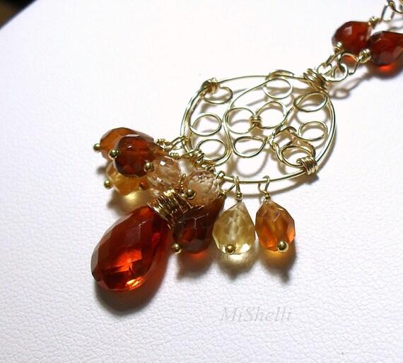 Hessonite Gemstone Cluster Gold Filled Pendant Necklace