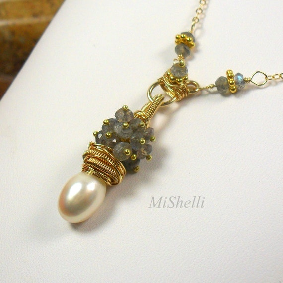 Labradorite Baroque Pearl Pendant Gold Filled Necklace