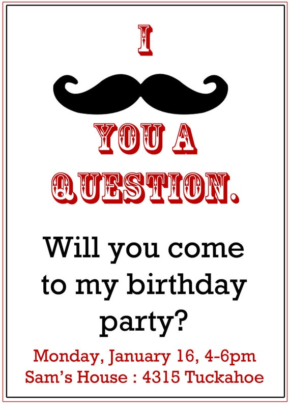 Mustache Party invitation- Boy's Birthday Invitation- Digial File, print yourself or PRINTED CARDS