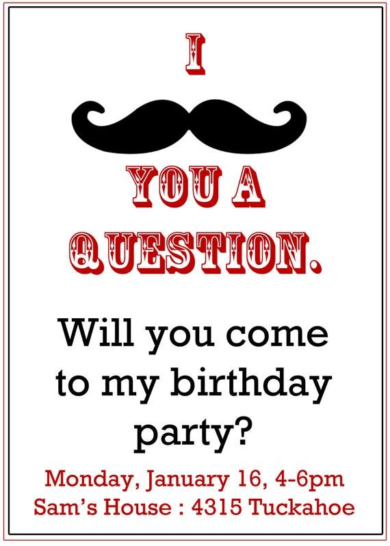 Mustache Party invitation- Boy's Birthday Invitation- Digial File