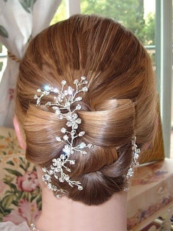 Bridal Hair Vine with Rhinestones Wedding Headpiece Boho Hair Piece Headband: Garden of Eden Vine