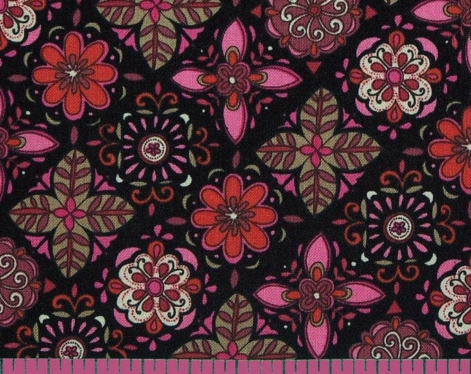 SALE 2 yards - Modern Nouveau Small Floral - Timeless Treasures - Floral Tiles TT3791 Black/Pink