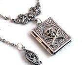 Dark Secrets - Silver Skull Book Locket