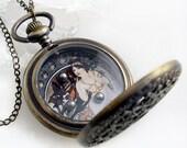 Art Nouveau Winter Lady Dexterity Game in Pocket Watch Case - Pendant Jewelry
