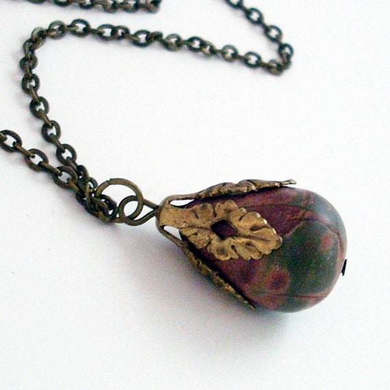 Jasper Teardrop Pendant with Bronze Setting Necklace Jewelry Jewellery