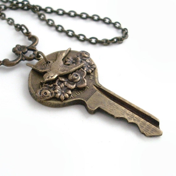 Key Pendant The Garden Gate - Necklace Handmade Jewelry