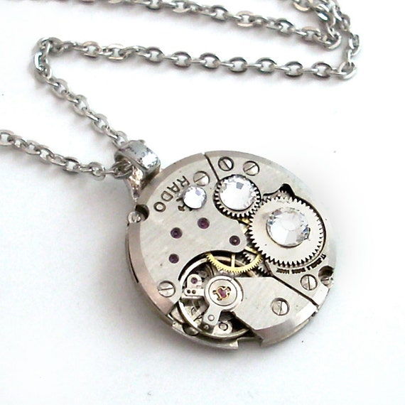 Unisex Steampunk Pendant - Time Stops for No Man - Steampunk Necklace Handmade Jewelry