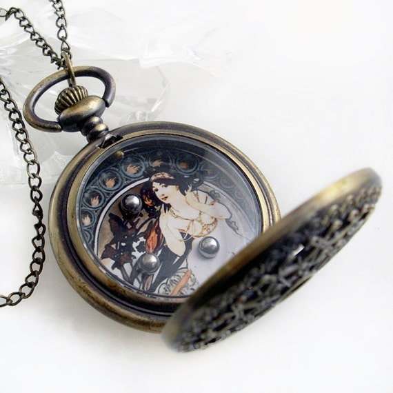 Art Nouveau Winter Lady Dexterity Game in Pocket Watch Case - Pendant Jewelry