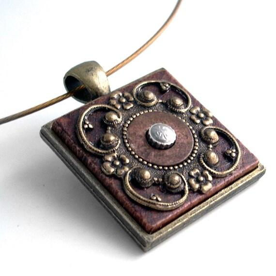 Wood and Bronze Filigree Necklace - Steampunk Handmade Jewelry