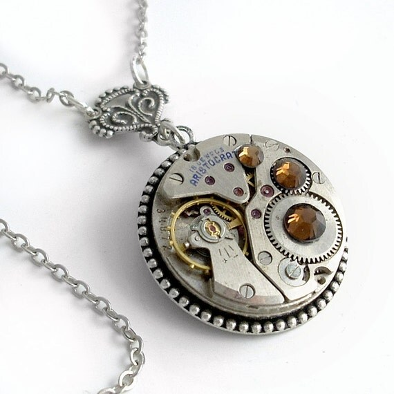 Clockwork and Crystals - Steampunk Pendant Necklace Handmade Jewelry