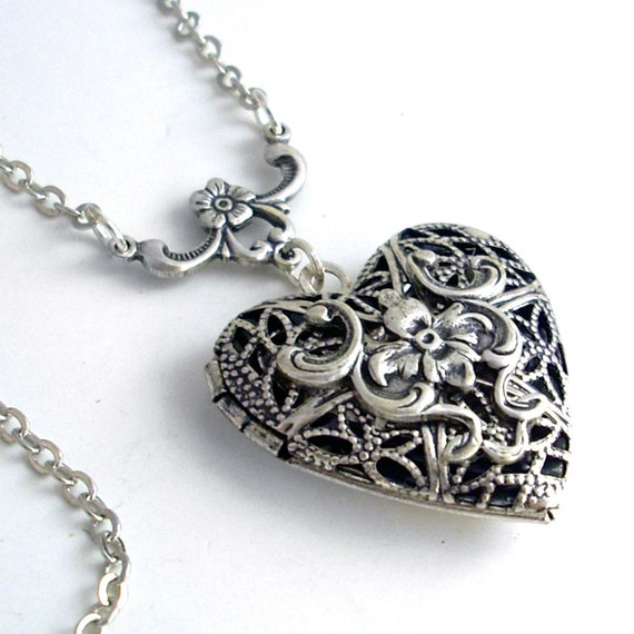 Silver Scent Locket Necklace Jewelry - Filigree Heart - by Gypsy Trading Company