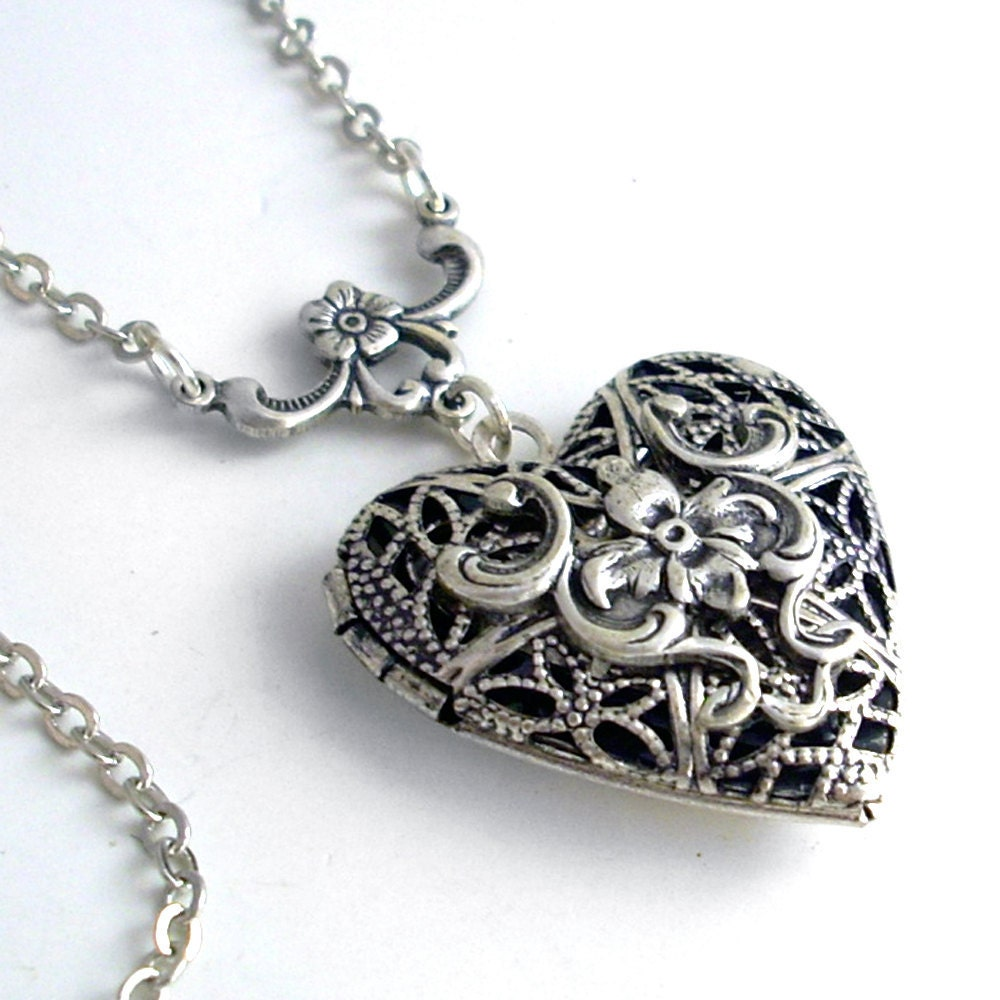 silver scent locket necklace jewelry filigree by