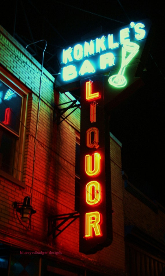 Konkle's Bar, Grand Rapids, Michigan, color photography. neon sign, PoM team, PoE team