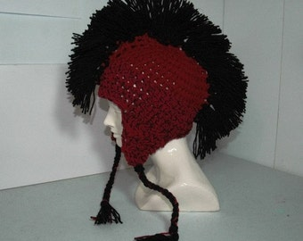 Red  with Black Mohawk Earflap Hat