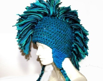 Teal and Blue Mohawk Earflap Hat