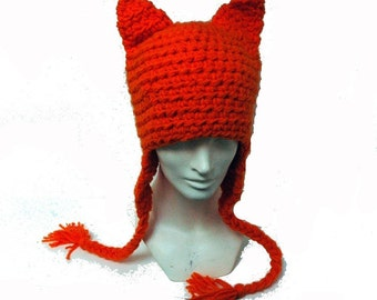 Orange Cute Fox Ears EarFlap Hat