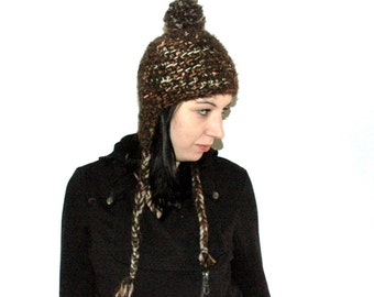 Fuzzy Brown EarFlap Pom Pom Hat