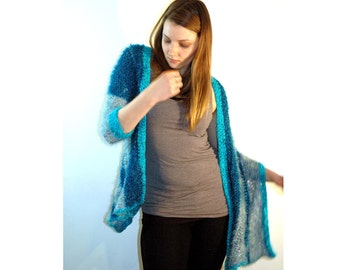 Fuzzy Soft Striped Blue and Teal  One Sleeved Shawl Sweater Wrap