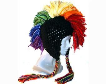 Mohawk Black Rainbow Ear Flap Hat