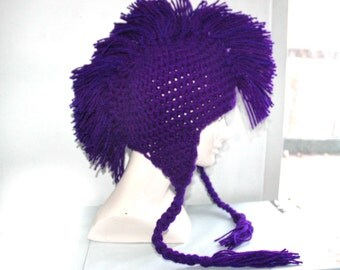 Purple Mohawk Earflap Hat with Tassles