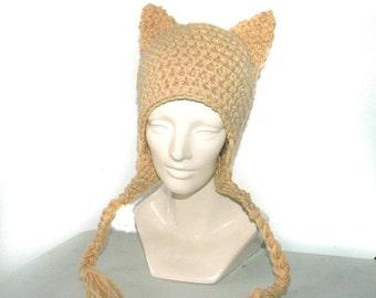 Tan Fox EarFlap Hat Winter Fall Gift Idea