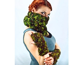 Green and Brown Cowl Infinity Scarf Camouflage Chunky