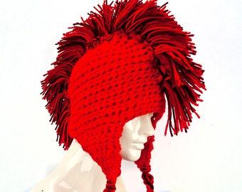 Red Mohawk Ear Flap Hat