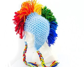 Baby Blue Mohawk  Ear Flap Hat Rainbow Dash Inspired