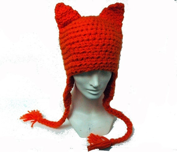 Orange Cute Fox Ears EarFlap Hat