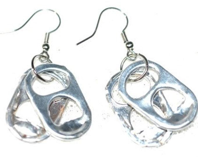 Soda Tab Silver Earrings