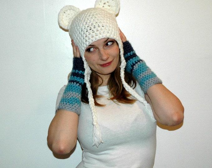 White Monkey Bear EarFlap Hat