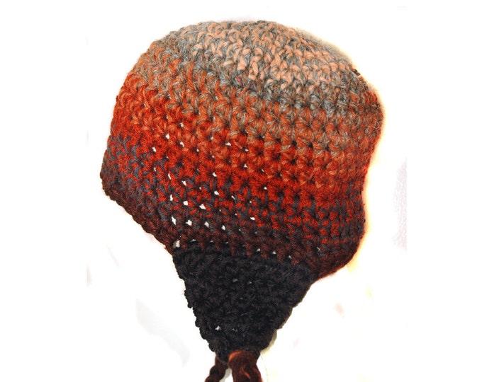 Ear Flap Hat Autumn Brown Ombre Earth Tones Fade