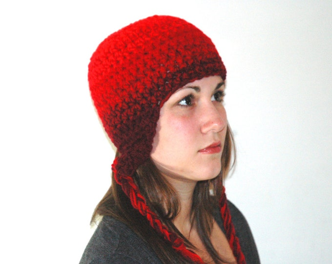 Red Ombre Fade Ear Flap Hat