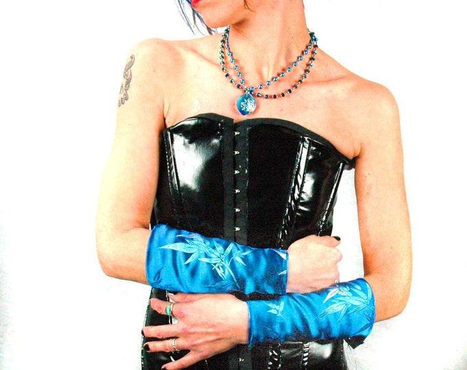Silky Blue Reversible Fabric Gauntlets Gloves