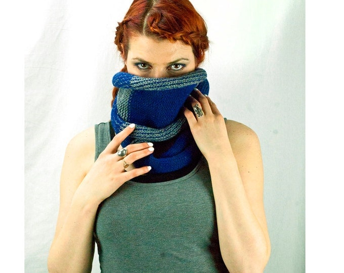 Blue and Grey Cowl Circle Scarf