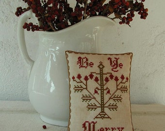 Primitive Cross Stitch Pattern BE YE MERRY
