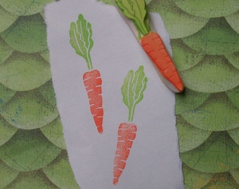 Hand Carved Tiny Carrot Stamp