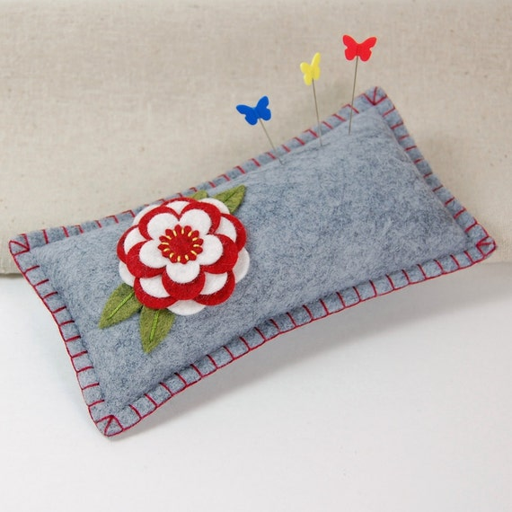 Wool Felt Pincushion / Small Pillow - Red & White Flower Hand Embroidered on Grey