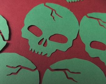 Skull vinyl stickers, Green skull vinyl embellishments, car sticker, laptop sticker, skull sticker, indoor or outdoor