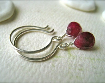 Sookie Earrings - crimson ruby gemstone earrings, silver ruby earrings, blood red ruby earrings, handmade earrings, DE21