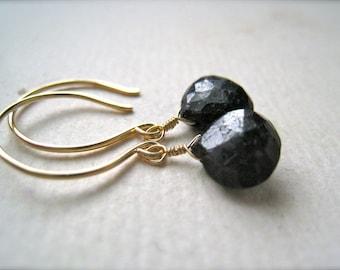 September Earrings - sapphire earrings, gold navy blue sapphire earrings, simple drop earrings, september birthstone, handmade jewelry