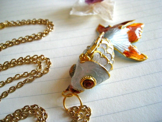 koi pond necklace - upcycled cloisonne koi fish and long gold rolo chain