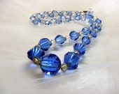 1930s Blue Crystal Necklace, Graduated faceted beads,  26 in., original vintage costume jewelry